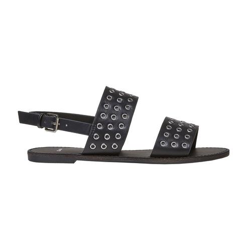 Sandali neri con borchie di metallo bata, nero, 561-6297 - 15