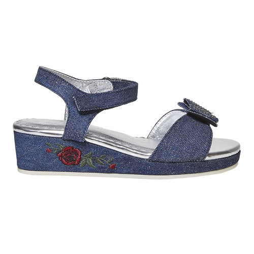 Sandali blu da ragazza con ricamo mini-b, blu, 369-9205 - 15