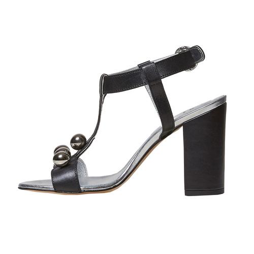 Sandali neri in pelle con tacco bata, nero, 764-6207 - 26