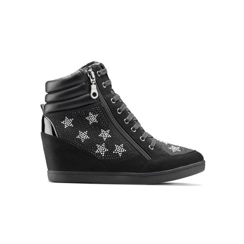 Sneakers con zeppa e strass north-star, nero, 729-6970 - 26