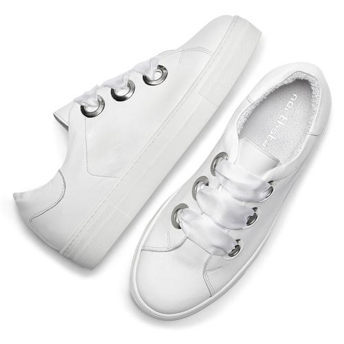 Sneakers bianche con lacci in raso north-star, bianco, 544-1359 - 19