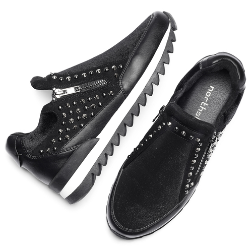 Sneakers nere con strass north-star, nero, 549-6294 - 19