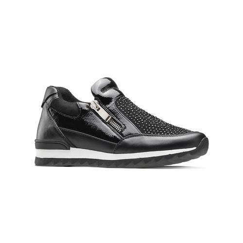 Sneakers slip-on con strass mini-b, nero, 329-6297 - 13