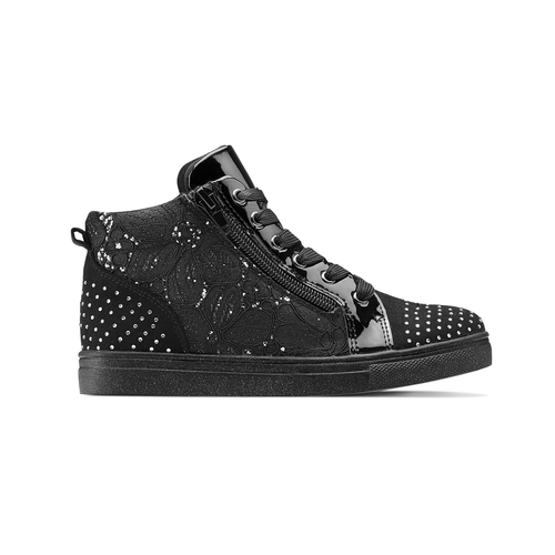 Sneakers alte con strass mini-b, nero, 329-6302 - 26