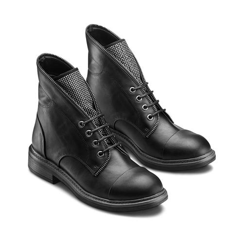 Ankle Boots con lacci bata, nero, 591-6507 - 16