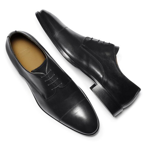 Stringate Derby in vera pelle nera bata-the-shoemaker, nero, 824-6184 - 19