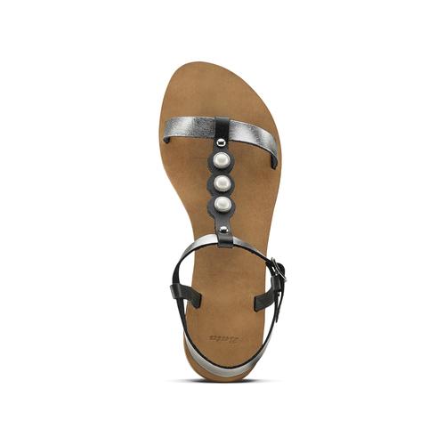 Sandali bassi con perle bata, nero, 541-6134 - 15