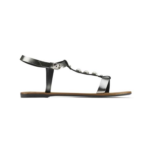 Sandali bassi con perle bata, nero, 541-6134 - 26