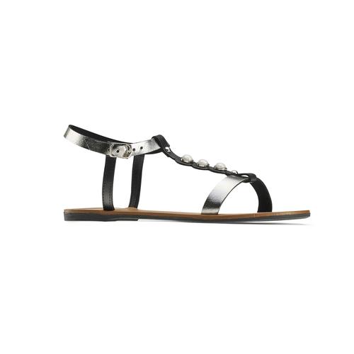 Sandali bassi con perle bata, nero, 541-6134 - 13