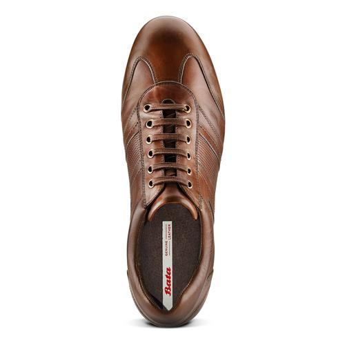 Stringate in vera pelle bata, marrone, 844-4381 - 17