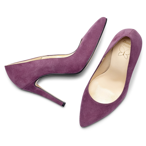 Pumps in suede viola insolia, rosso, 723-5111 - 19