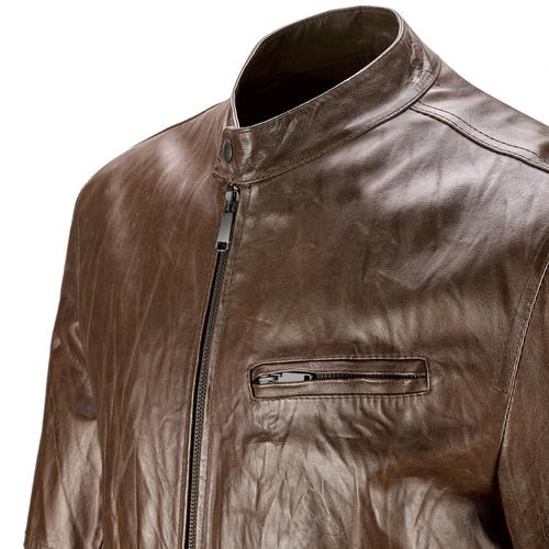 Giacca da uomo in vera pelle bata, marrone, 974-4142 - 15