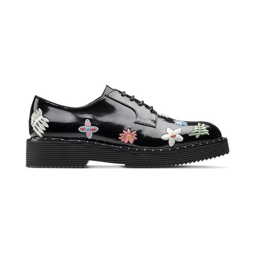 Stringate con fiori ricamati bata, nero, 521-6194 - 26
