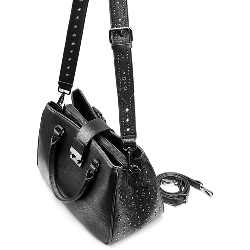 Borsa a mano con borchie bata, nero, 961-6960 - 17