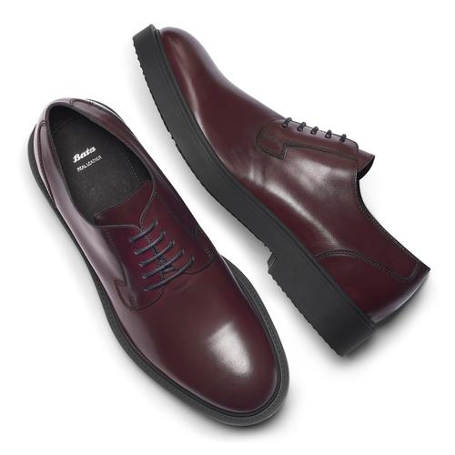 Scarpe derby color vinaccia bata, rosso, 824-5157 - 19