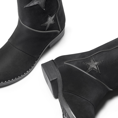 Stivali da donna con stelle bata, nero, 593-6105 - 19