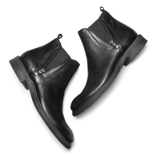 Chelsea Boots da uomo con zip bata, nero, 894-6739 - 19