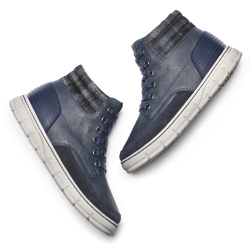 Sneakers alte da bambino con zip mini-b, blu, 391-9397 - 19