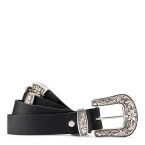 Cintura da donna con doppia fibbia bata, nero, 951-6131 - 13