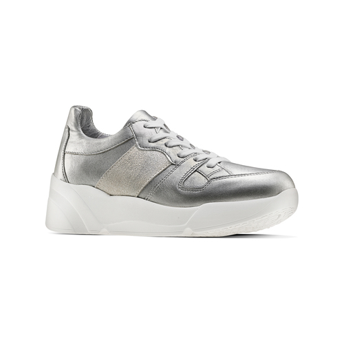 Sneakers silver Platform bata, 624-1158 - 13