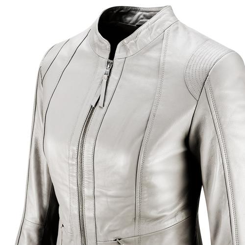 Giacca in pelle da donna bata, grigio, 974-2180 - 15