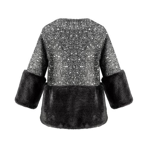 Cappotto con dettaglio in ecopelliccia bata, nero, 979-6241 - 26