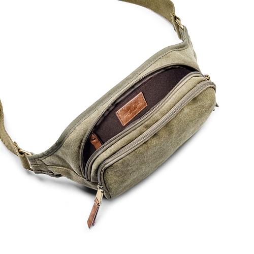 Marsupio con doppia tasca bata, verde, 969-7247 - 16