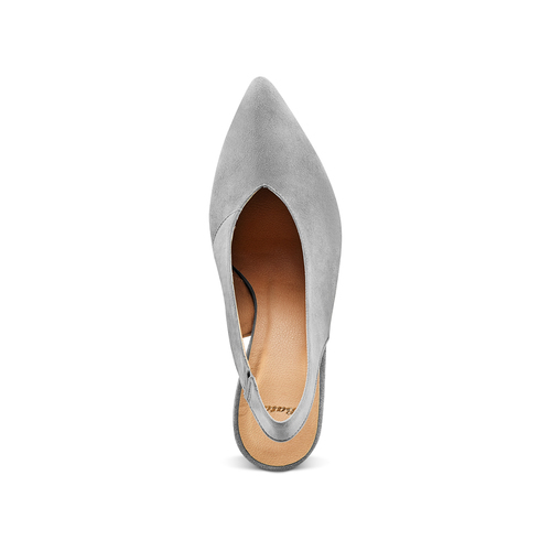 Sling back shoes in suede bata, grigio, 723-2248 - 17