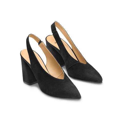 Sling back shoes in pelle scamosciata bata, nero, 723-6248 - 16