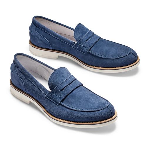 Mocassini in suede bata, blu, 813-9113 - 26