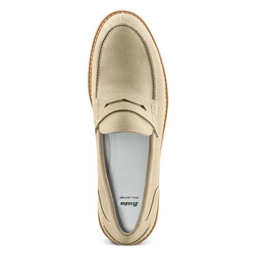 Mocassini in suede bata, beige, 813-8113 - 17