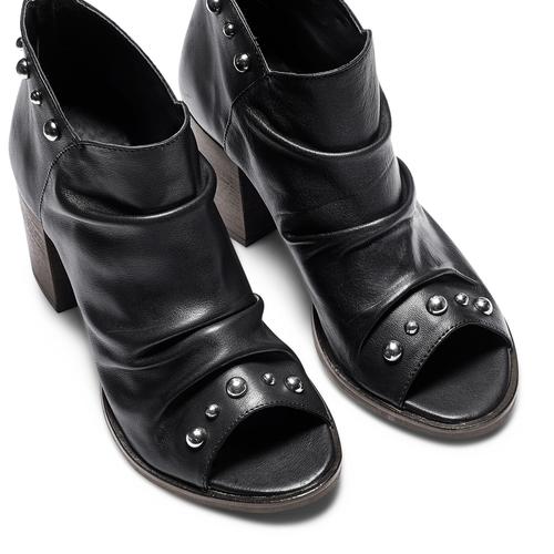 Sandali con effetto arricciato bata, nero, 724-6192 - 17