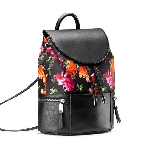 Zaino con stampa floreale bata, nero, 969-6308 - 13