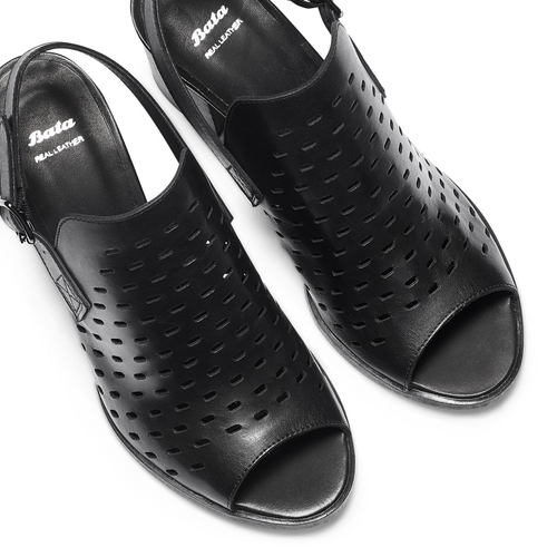 Sandali in pelle bata, nero, 764-6161 - 26