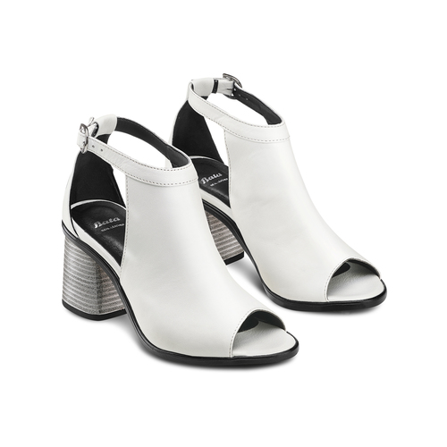 Sandali in pelle bata, bianco, 724-1297 - 16