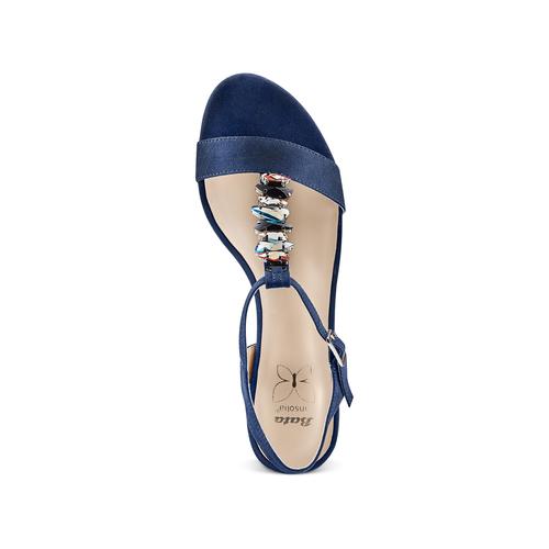 Sandali con tacco basso insolia, blu, 669-9131 - 17