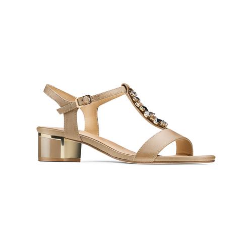 Sandali con tacco basso insolia, beige, 661-8131 - 13