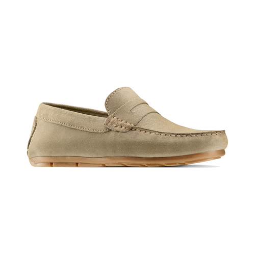 Mocassini in suede bata, beige, 853-8171 - 13