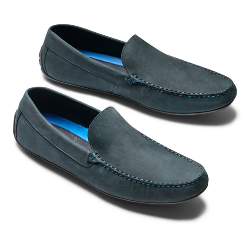 Mocassini in pelle bata, blu, 856-9151 - 26