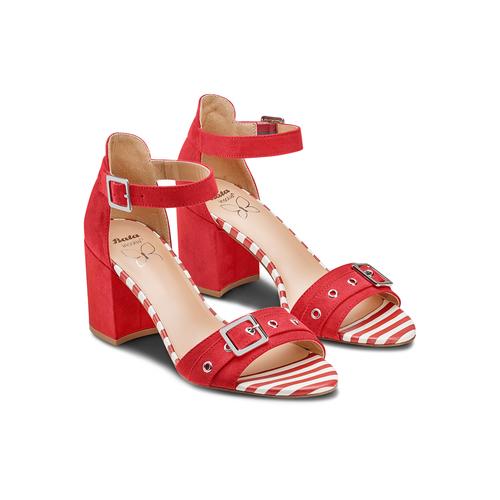 Sandali con tacco largo insolia, rosso, 769-5245 - 16
