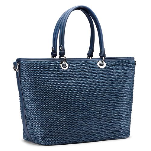 Shopper in rafia bata, blu, 969-9297 - 13