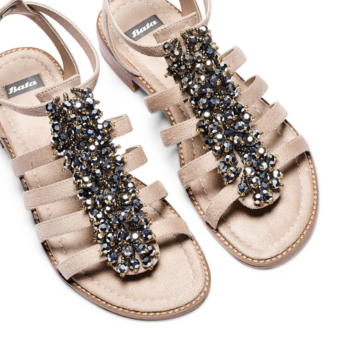 Sandali con perline bata, beige, 569-8206 - 26