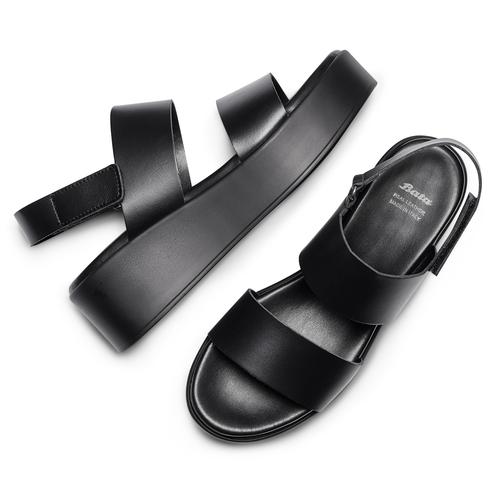 Sandali Platform bata, nero, 664-6230 - 26