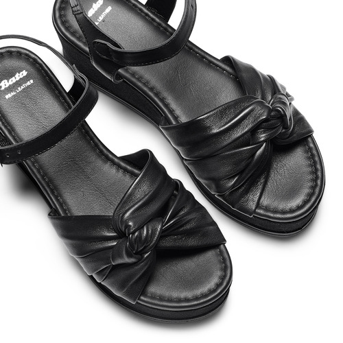 Sandali in pelle bata, nero, 764-6271 - 26