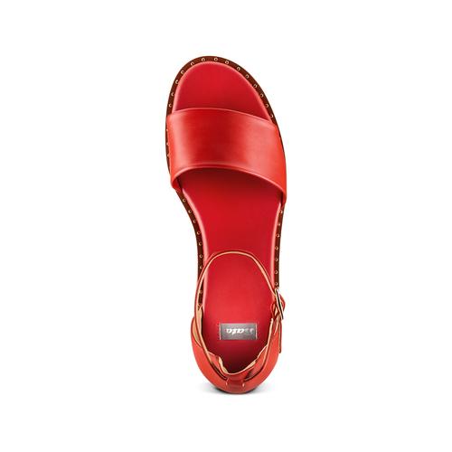 Sandali con zeppa bata, rosso, 661-5354 - 17