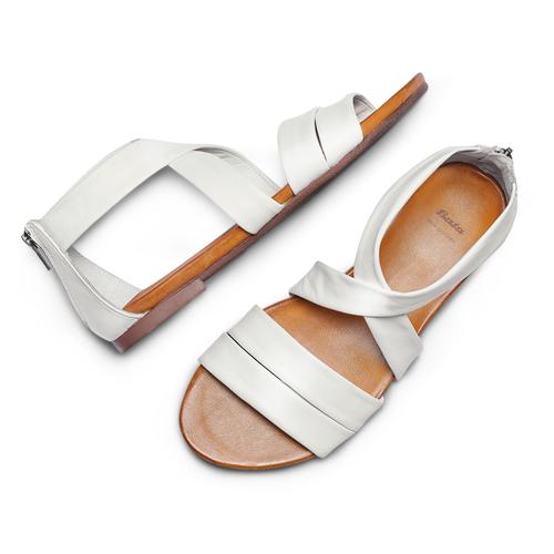 Sandali flat in pelle bata, bianco, 564-1327 - 26